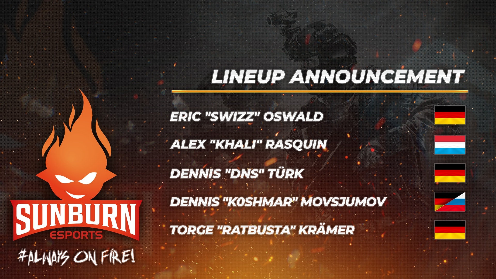 Lineup Announcement SUNBURN-CS:GO 04.01.2020